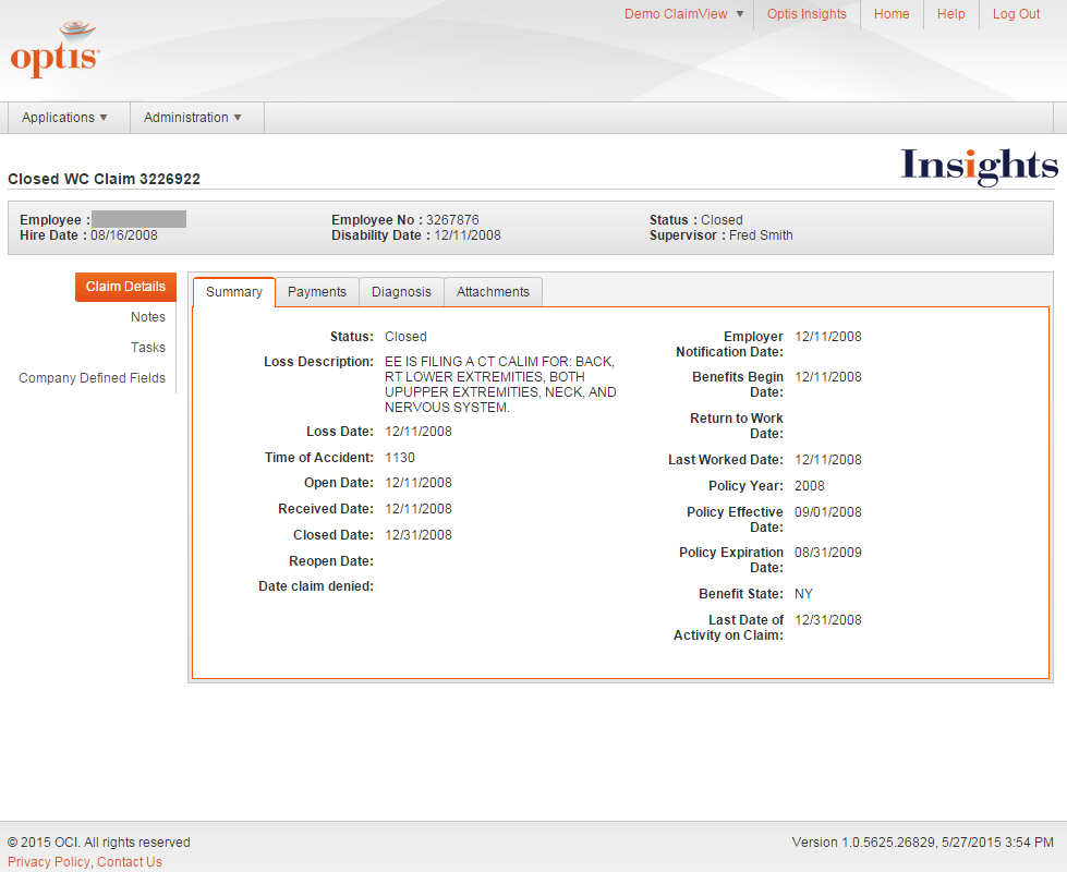 Optis Insights Screenshot